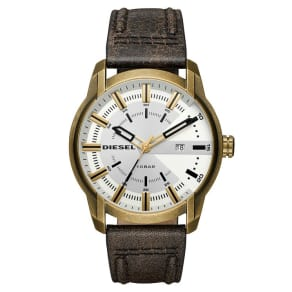Diesel Men's Gold-Plated Brown Leather Strap Watch