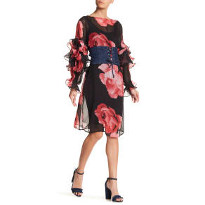 Tiered Ruffle Sleeve Floral Dress
