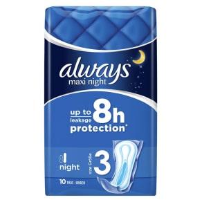 Always Maxi Night Sanitary Towels X 10 Pads