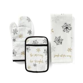 Kate Spade New York Holiday Metallic Snowflakes 3-Piece Kitchen Linens Set