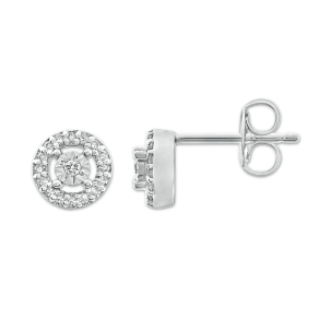 Diamond Earrings 1/10 Ct Tw Round-Cut 10k White Gold