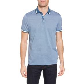 Men's Ted Baker London Poodal Stripe Jersey Polo, Size 5(xl) - Blue
