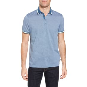Men's Ted Baker London Poodal Stripe Jersey Polo, Size 3(m) - Blue