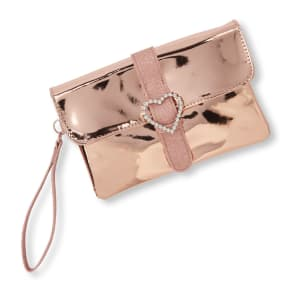 Girls  Embellished Heart Rose Gold Wristlet - Metallic