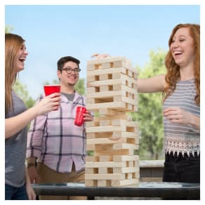 Hey! Play! Giant Wooden Stacking Game, Multi-Colored