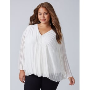 Lane Bryant Women's Pleated Flutter Top 14/16 Bianca White