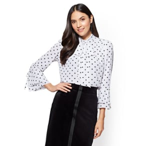 7th Avenue - Bell Sleeve Bow Blouse - Polka Dot