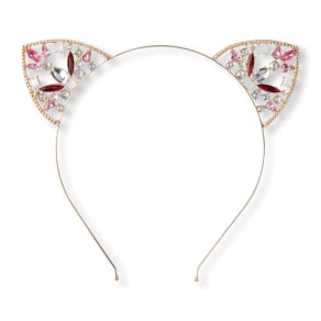 Girls  Gemmed Cat Ear Metal Headband - Metallic