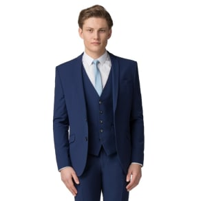 Occasions - Bright Blue Plain Skinny Fit Jacket
