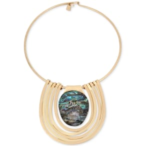 Robert Lee Morris Soho Gold-Tone Abalone Stone Statement Necklace