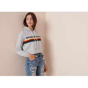 017b7f6ec5b Garage Cut-Off Cropped Hoodie Cool Grey Mix Rainbow Art