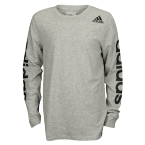 Boys Adidas Graphic L/S T-Shirt - Grade School - Grey Heather/Black