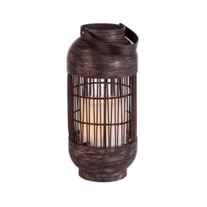 Outdoor Vertical Upright Led Lantern Small - Rattan Weave - Threshold, Brown