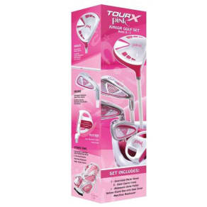 Merchants of Golf Tour X Pink Size 1 Ages 5-7 5pc Jr Golf Club Set W/Stand Bag Left Hand