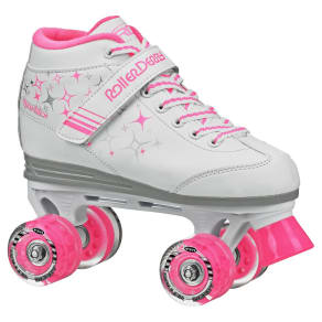 Roller Derby Girls' Sparkle Quad Skates With Lighted Wheels - White/Pink 4, Pink White