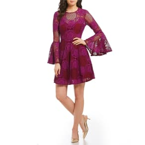Donna Morgan Lace Bell Sleeve Fit-And-Flare Dress