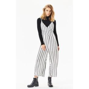 Lottie Moss Womens Striped Bodice Jumpsuit - White/Black