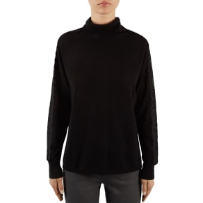 Gerard Darel Lina Lace-Sleeve Wool & Cashmere Turtleneck
