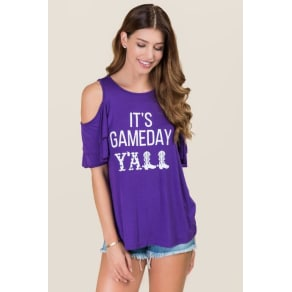 It's Gameday Y'all Double Ruffle Graphic Tee - Purple