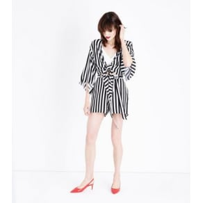 White Stripe Tie Waist Shorts New Look