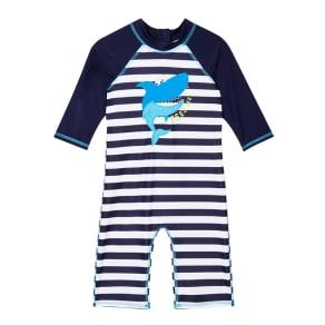 Bluezoo Boys' Navy Striped Shark Sunsafe