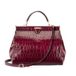 Large Florence Frame Bag in Bordeaux Croc