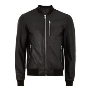Mens Selected Homme's Black Leather Bomber Jacket, Black