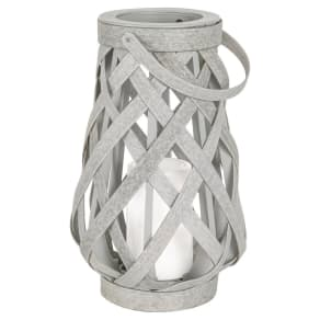 Rattan Lantern Battery Operated Gray Small - Threshold