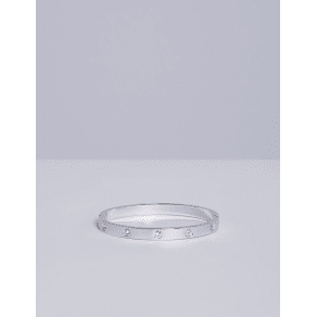 Lane Bryant Women's Hinge Bracelet With Cz Onesz Silver Tone