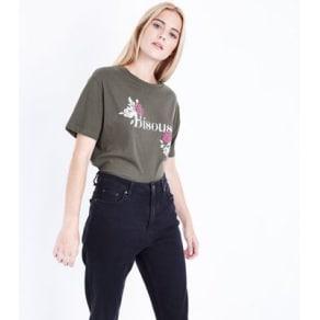 Olive Green Bisous Print Boyfriend T-Shirt New Look