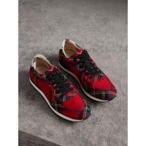 Burberry Tartan Wool Sneakers, Size: 35.5