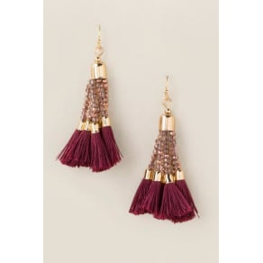 Kathryn Beaded Tassel Earrings - Burgundy