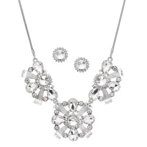 Mood Mixed Crystal Cluster Triple Drop Jewellery Set