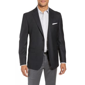 Men's John W. Nordstrom Traditional Fit Plaid Wool Sport Coat, Size 44 R - Grey