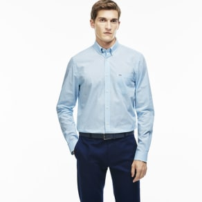 Lacoste Men's Regular Fit Gingham Shirt - Bay Blue