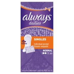Always Dailies Individually Wrapped And Folded Panty Liners Normal Unscented
