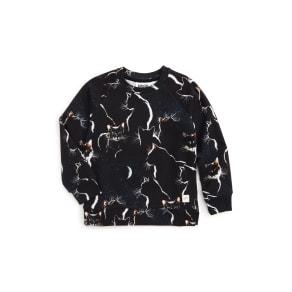 Girl's Molo Marina Moon Cats Sweatshirt, Size 7Y / 122 cm - Black