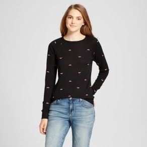 Women's Embroidered Bat Halloween Graphic Sweatshirt - Modern Lux (Juniors') Black Xxl