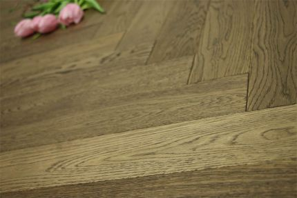 Prime Engineered Oak Herringbone Smoked Brushed UV Oiled 15/4mm By 90mm By 900mm