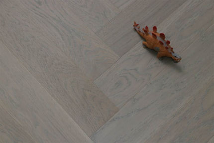 Prime Engineered Flooring Oak Herringbone White Grey Brushed Matt Lacquered 14/3mm By 97mm By 582mm
