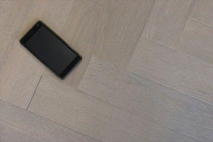 Prime Engineered Flooring Oak Herringbone White Grey Brushed UV Oiled 14/3mm By 97mm By 790mm