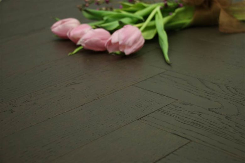 Natural Engineered Flooring Oak Herringbone Dark Cacao Brushed UV Oiled 15/4mm By 90mm By 630mm