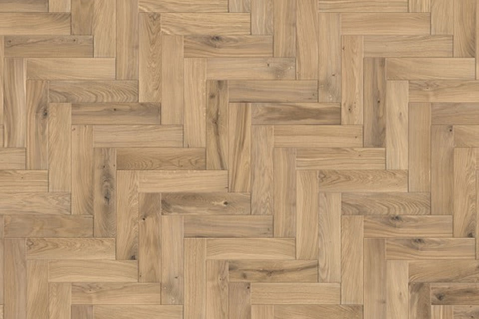 Natural Solid Flooring Oak Herringbone Invisible Oiled 18mm By 70mm 280mm