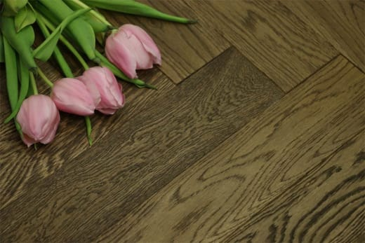 Natural Engineered Flooring Oak Herringbone Smoked Brushed UV Oiled 15/4mm By 90mm By 630mm