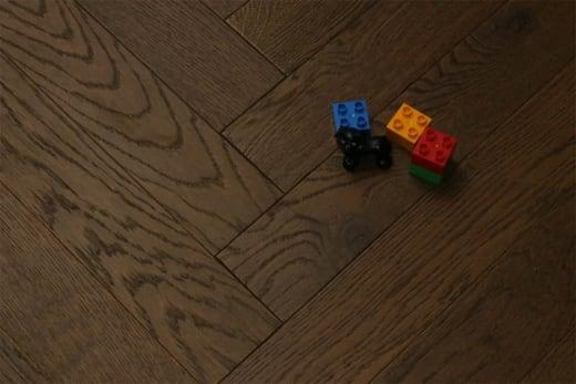 Prime Engineered Flooring Oak Herringbone Coffee Brushed UV Oiled 14/3mm By 98mm By 790mm