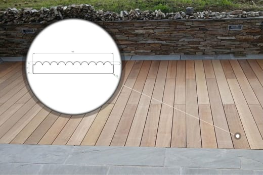 Yellow Balau Reeded Decking Boards 19mm By 90mm By 3600mm