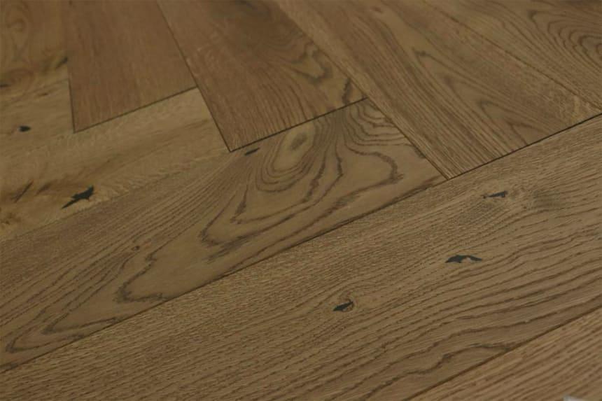 Natural Engineered Flooring Oak Herringbone Catania Brushed UV Oiled 15/4mm By 140mm By 700mm
