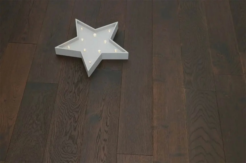 Natural Engineered Flooring Oak Black Tea Brushed UV Oiled 14/3mm By 220mm By 1900mm