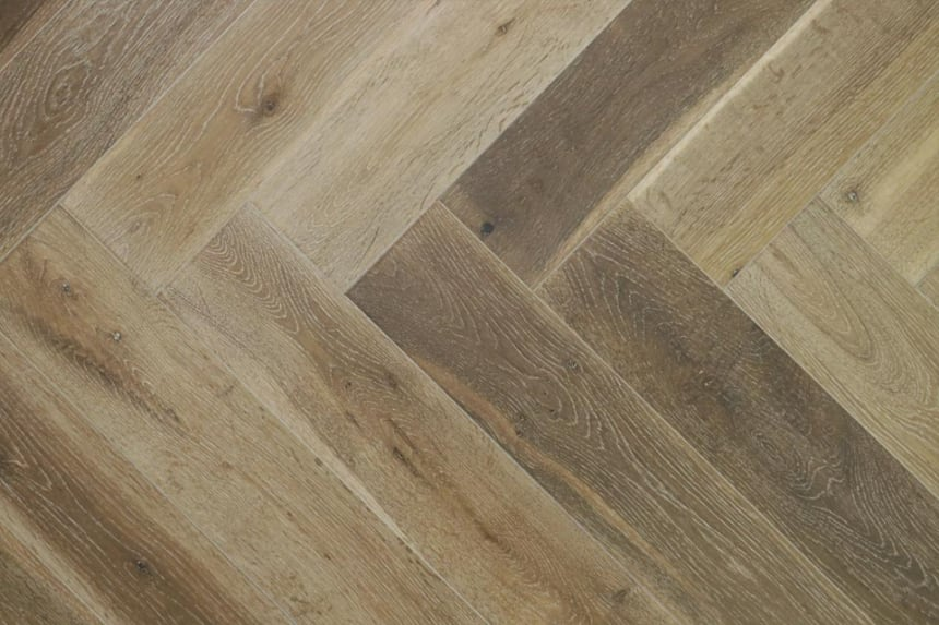 Natural Engineered Flooring Oak Herringbone Smoked White Washed 10/3mm By 120mm by 600mm