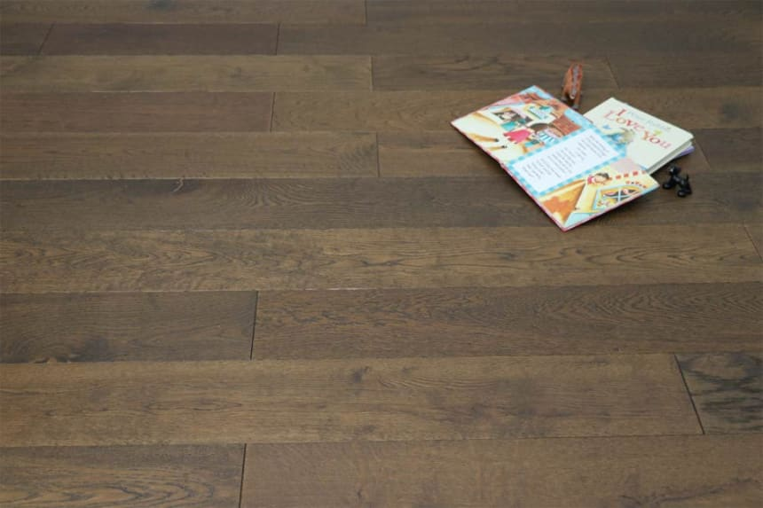 Natural Engineered Oak Click Coffee Brushed UV Oiled 14/3mm By 190mm By 400-1500mm
